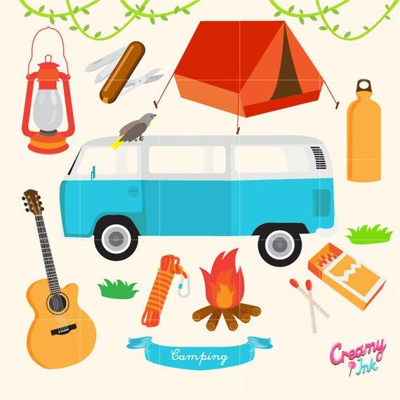 camping digital vector clip art outdoor activity digital clipart rh etsystudio com