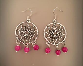 Boho chic earrings, silver boho earrings, bohemian earrings, gypsy earrings, hippie earrings, bead dangle earrings, ethnic earrings