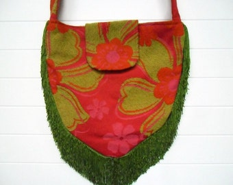 Hippie Bag Purse with Lime Green and Pink Chenille and Lime Green Fringe