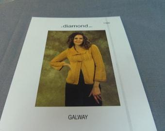 """Knitting Pattern, Woman's Sweater Jacket, Finished Size 34"""", 42"""", 50"""" Diamond Galway Yarn, No. 1326"""