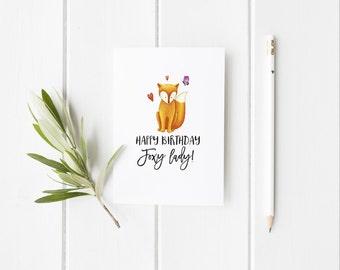 Friend Birthday Card / Birthday Card For Friend / Fox Card / Funny Birthday Card / Foxy Lady Birthday Card / Birthday / Luxury Birthday Card