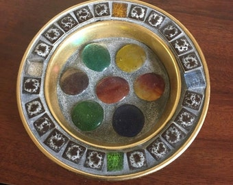 "EFCCO Ashtray ,Metal ""mosaic "" Made In Japan"