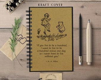 Winnie the Pooh Notebook, Cute Notebook, Spiral Notebook, Notebook Her, Writing Notebook, Lined Notebook, Dot Grid Journal, Bullet Journal