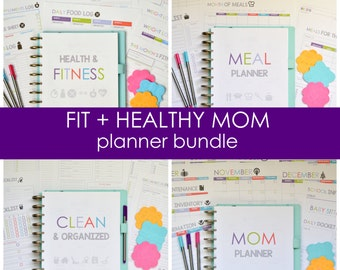 Printable Fit & Healthy Mom Planner Bundle, Fitness Planner, Cleaning Checklists, Instant Download,Editable, 48 Pages, BRIGHT