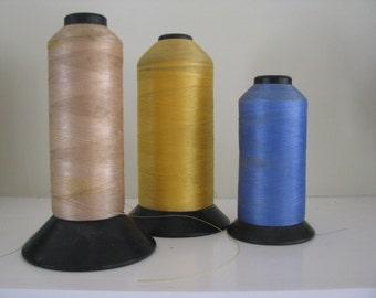 3 Large Spools Of  Vintage Thread