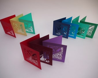 Double cut paper greeting cards