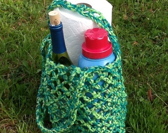 Plarn Tote, green and teal