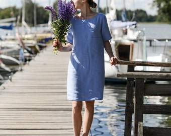 Working tunica. Washed soft linen dress. Women's dress.