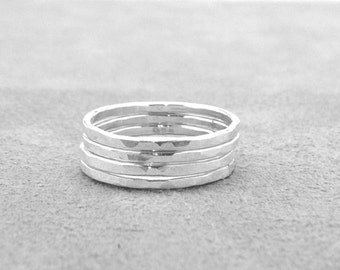 Set of Four Sterling Silver Stacking Rings, 4 Stacking Rings, Four Rings, Stacking Rings, Hammered Stacking Ring, Sterling Silver Jewelry