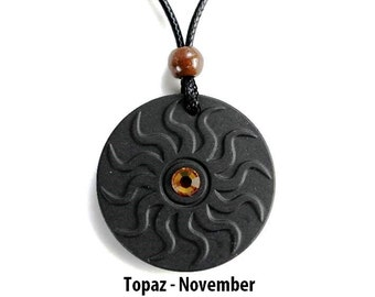 QP11 Dalimara Sun Quantum Pendant with Topaz November Swarovs Crystal