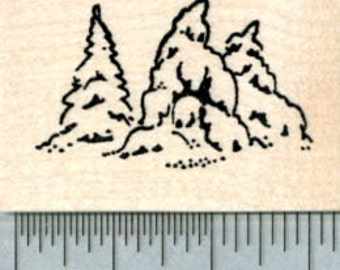 Pine Trees Rubber Stamp, Snow Covered Evergreen, AKA Fir Tree, Small Size E31303 Wood Mounted