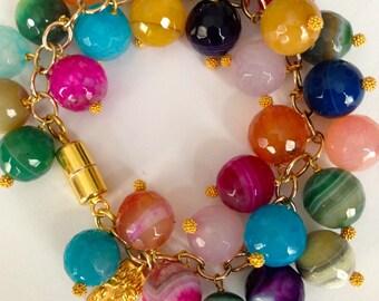 Gem Cluster Statement Bracelet, Multi Colored Agates, GF Chain, Vermeil Fancy Headpins, Retangular Flower Charm, and Magnetic Clasp