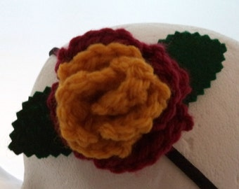 Crocheted Rose Headband - Red and Gold (SWG-HH-HWGR01)