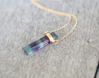 Fluorite Bar Necklace, Gemstone Bar in Gold , Rose Gold , Sterling Silver , Natural Fluorite Pendant , Boho Layering Necklace