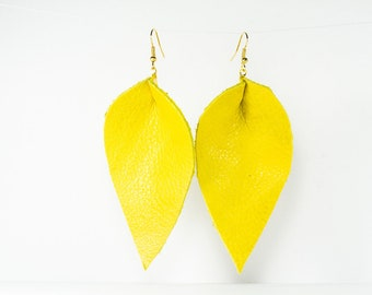 Leather Pinched Petal Earrings - Large - Yellow