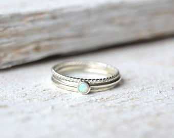 Opal Ring- Opal Silver Ring, Opal Stacking Ring, Opal Ring Silver, Opal Gemstone Ring, Stackable Opal Ring