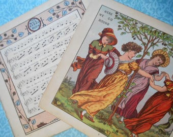 1877 Round the Mulberry Bush Litho Print Plate taken from Walter Crane