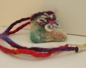 Handmade Felted Pouch Necklace Multicolored EcoFriendly FREE SHIPPING