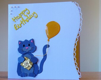 Birthday Card - Cute Cat / Kitten Birthday Card - Cute Birthday Card For Children/ Women/ Men/ Girls/ Boys - Can Be Personalised - Handmade