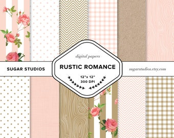 Rustic Romance Digital Backgrounds - 12 Pieces, Roses, Vintage, Pink, Gold, Woodlands, Wedding Invitation, Floral, Shabby Chic, Feminine