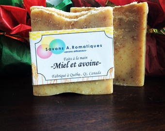 Natural honey and oats, know skin, soaps, handmade by saponification cold