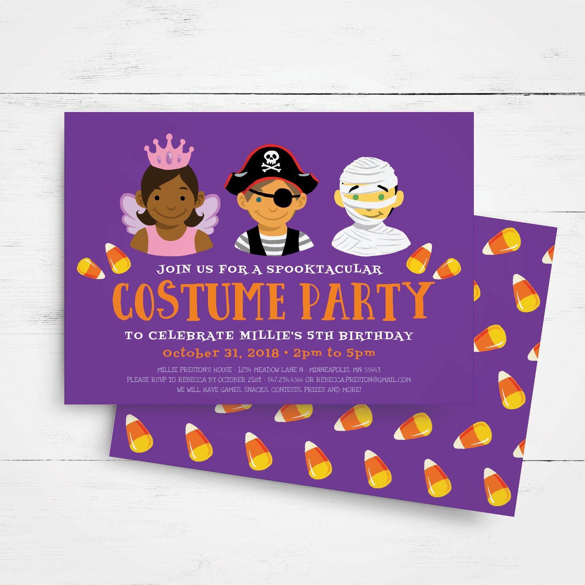 Halloween Birthday Invitation Template, Kids Birthday Party ...