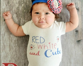 Newborn Fourth of July Outfit Red White and Cute Newborn Outfit Baby's First 4th of July Outfit Red White and Blue Outfit
