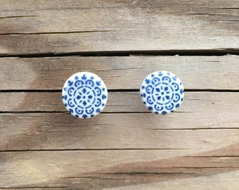 Blue and White Ceramic Stud Earrings from Thailand