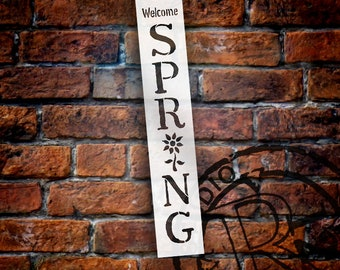 Welcome Spring Stencil with Flower by StudioR12 | Reusable Mylar Template - Seasonal Wood Signs - Porch Sign - SELECT SIZE