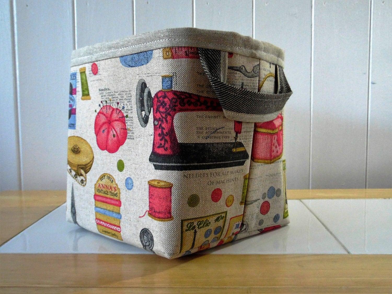 & Vintage sewing knitting print linen storage bin basket-small