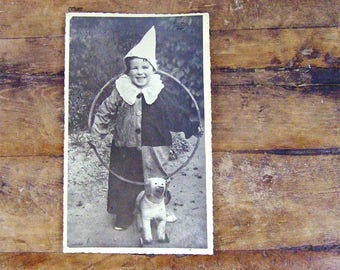 Vintage French Clown costume and toys photograph hoop dog on wheels fancy dress child B&W FREE SHIPPING