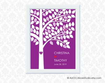 Personalised Wedding Tree Guest Book Alternative Poster - 18 x 24 in - 45-100 Signatures - Canvas, Paper or Digital Printable