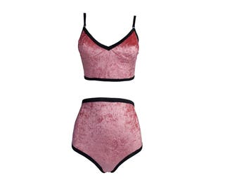 Velvet lingerie // Longline bralette & hi waist underwear in flamingo pink