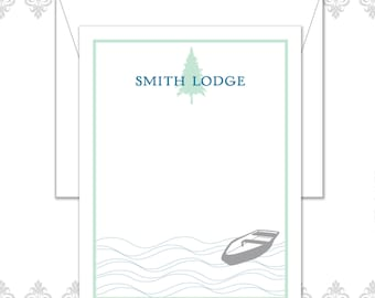 Lake stationery set of 10 flat cards and envelopes, Woodland Stationery, Canoe & lake stationery set, Lakeside stationery, pine tree cards