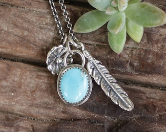 Southwestern Charm Necklace with turquoise and feather