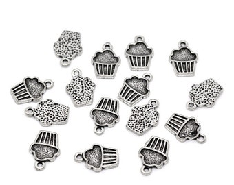 10 Pieces Antique Silver Cupcake Charms