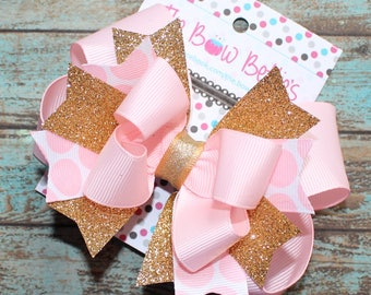 Pink and Gold Bow, Girl's First Birthday, Light Pink and Gold, Princess bow, Stacked Bow, Boutique Bow, Glitter Hair Bow