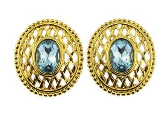 Gold and Blue Rhinestone Earrings, Blue Rhinestone and Gold Earrings, Large Blue Earrings, Blue Rhinestone Stud Earrings