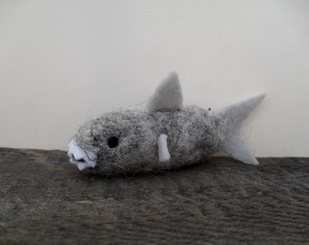 cat toy catnip shark needle felted