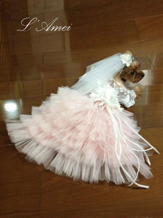 Custom Made Dog wedding dress made of soft pink tulle and Hand