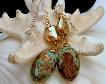 Copper Fluss Dangle Earrings Turquoise Copper Silver Tone Bead Earrings 1980 Dangle Earrings Hammered Bead