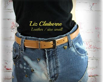 women's leather belt, tan leather belt, gold buckle belt, women's belt, dress belt, Liz Claiborne belt, small belt - waist 28 to 32 #  B14