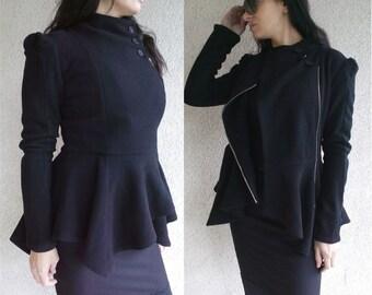 Black Wool Coat/ Winter Coat /Cashmere Wool Coat /Sleeve Trench Coat/ Asymmetrical Coat /Extravagant Coat/Black Coat