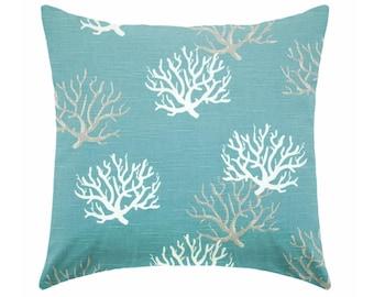 Aqua blue Pillow covers, Beach pillows, coastal pillows, nautical pillows, seahorse pillow, starfish pillow , Euro sham ,