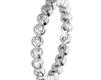 Stackable Ring 925 Solid Sterling Silver Round Clear Stone Stacking Stack Band Women