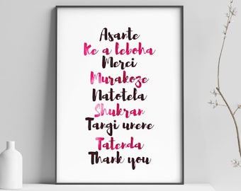 Thank you in different languages, Thanksgiving Printable, Thank You, Asante, Merci, French, Swahili, Arabic, Africa Printable