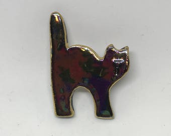 SALE PRICE Small black Halloween cat pin