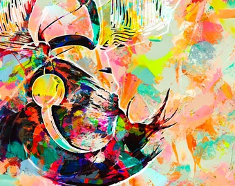 Headphones abstract painting. digital art abstract original painting