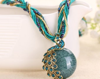 Women Vintage Crystal Peacock Stone Statement Bib Pendant Necklace