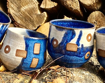 Blue and White Ceramic Tumblers